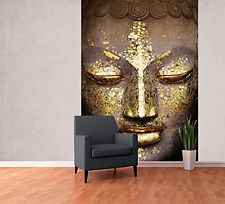 Modern Shimmering Buddha Face Feature Wallpaper Mural, Wood, Gold, 1.58 x 2.32 m