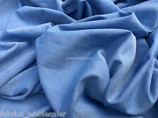 PRESTIGE Blue 100% Cotton Chambray Shirts/Tunics Dress Making Wholesale Fabric