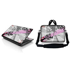 "17.3"" Laptop Sleeve Bag w Shoulder Strap & Matching Skin Love Grey Skull 17Z-D69"