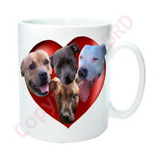 Staffy Gift, Mug with Hearts & Dogs. Staffies, Staffordshire Bull, Birthday Gift