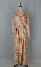 ROSCH Creative Culture Peach Floral Print Cotton & French Terry Bathrobe S/M