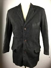 BARNEYS NEW YORK ITALY BLACK REAL BUTTER SOFT LEATHER SUEDE JACKET COAT 50