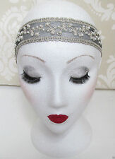 Black Ivory Lace Pearl Headband Flapper Great Gatsby 1920s Vintage Headpiece 348