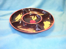 Crate and Barrel Chip and Dip Dish Black with Various Vegetables Decoration