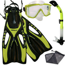 Panoramic Purge Dive Mask Dry Snorkel Fins Snorkeling Gear Set Shoe Size 9 to 13