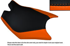 DESIGN 3 BLACK & ORANGE CUSTOM FITS KTM RC8  FRONT RIDER REAL LEATHER SEAT COVER