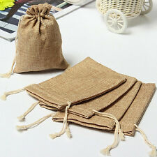 10PC Burlap Bag Linen Jewellery Drawstring Pouch Ring Beads Mini Candy Bags Gift