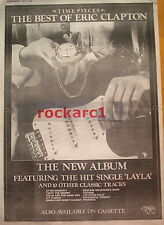 ERIC CLAPTON TIME PIECES 1982 UK Poster size Press ADVERT 16x12""