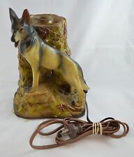 Antique German Shepherd TV Table Lamp Standing on Rocky Ledge Tested Works 1940s