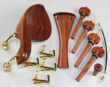 1 Set New Rosewood 4/4 Violin Parts Chinrest & Golden Clamps endpin Tuners #2709