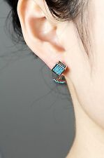 Rose Gold Turquoise Cube Ear Jackets, 925 Sterling Silver Posts Earrings