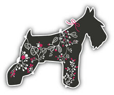 Miniature Schnauzer Floral Car Bumper Sticker Decal 5'' x 4''