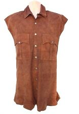 Brown 100% Real Leather CABLE CAR Popper Men's Waistcoat Sleeveless Shirt Sz XXL