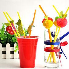 50 Paper Umbrella Plastic Drinking Straw Beach Party Fruit Straw Supply Fresh