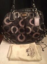 Coach Kristin Embroidered Op Art Signature Pleated Tote15356 Black Silver EUC