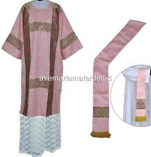 Rose Deacon Dalmatic Vestment Set with Stole and Maniple S,M,L,Regular Sizes