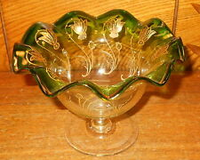 Vintage Art Glass Gree Edge w/ Gold Decoration Raised Candy Dish Bowl - 5 3/4""
