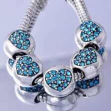 5Pcs White Silver Filled Blue Heart crystal charm beads for charms bracelet lot