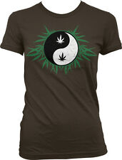 Ying Yang Pot Leaf Marijuana Weed 420 Drugs High Stoned Juniors T-shirt