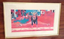 Leroy Neiman Olympic Gymnast Professionally Framed, Matted, Plate Signed