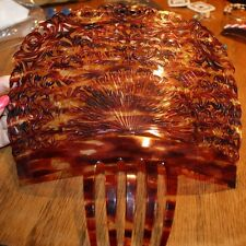 Stunning!!  Vintage Large Tortoise shell colored crown hair comb