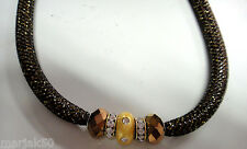 JEWELRY- NECKLACE WITH BEADS AND GOLD GLITTER IN THE BLACK MESH