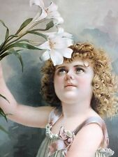 1900*Victorian*Easter Lily*Pretty Girl*Framed*Chromolithograph*Original Print