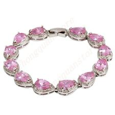 Jewelry Fashion 18CM Bracelets Pink Sapphire Lady's 10Kt White Gold Filled Gift