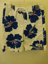 mens sz XS Abercrombie & Fitch Trunks Board Shorts white blue floral surf beach