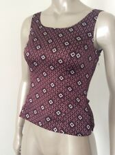 Nwt Tahari Petite Burgundy Red Print Womens Camisole Tank Top London Berry. OP