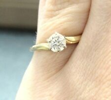 Genuine 0.45 ct Round Diamond Engagement Ring 14K Yellow Gold sz7 simple Classic