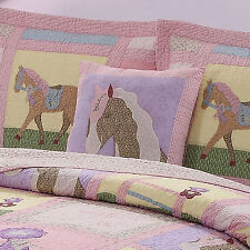 GIDDY UP PONY PILLOW : GIRLS HORSES PINK ACCENT BED TOSS