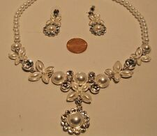 Necklace Set White Pearls Rhinestone Dangle Elegant Statement Earrings NWT L246