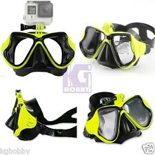 Snorkeling Half Face Mask Goggles Diving Scuba Snorkel w/ GoPro Mount Yellow