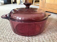 """Corning Cranberry Pot with Lid in good condition.  3.5"""" tall x 8.5"""" diam"""