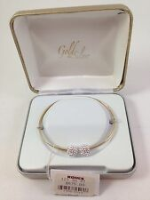"14K Yellow Gold Bangle Bracelet w/ 2 Crystal ""Snowballs"" Retail $675 Christmas"