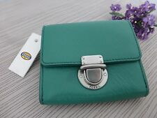 BNWT Fossil Riley Green Small Leather Flap Front Clutch Purse