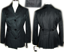 MISS SIXTY 60 Black Trench Coat pea  jacket Fitted M peacoa