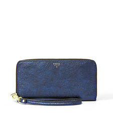 GENUINE FOSSIL SYDNEY LEATHER ZIP CLUTCH NAVY PURSE WALLET SL4417681 NEW IN