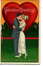 Couple in Love Kiss-Large Red Heart-Vintage Valentine's Day Greeting Postcard