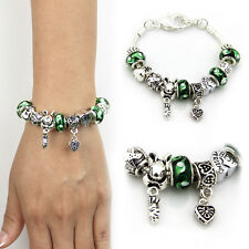 European Green Glass Murano Beads Lampwork Silver Charm Bracelet Xmas Jewelry