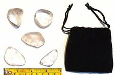 "Lot of 5 LARGE CLEAR QUARTZ Crystals GEMSTONES Large 1"" to 1 3/4"" & 1 FELT BAG"