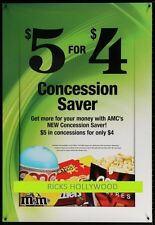 Original AMC M&M's CONCESSION 2 Sided Theatre Poster GREAT FOR A HOME THEATER
