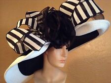 Kentucky Derby Extra Wide Brim Wedding Church Black White Hat