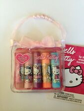 HELLO KITTY by Sanrio 5pc Flavored Lip Balm Set w/Case! Cherry+Peach + MORE