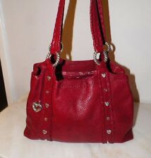 WOMEN'S BRIGHTON RED LEATHER TOTE STYLE PURSE HAND BAG GOOD USED SILVERTONE