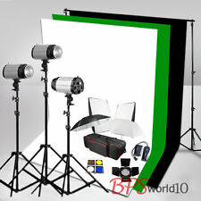 750W Flash Lighting Kit White Black Green Backdrop + Background Stand Earthed UK
