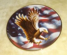 THE AMERICAN EAGLE COLLECTOR PLATE FRANKLIN MINT WITH FLAG LTD EDITION