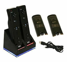 Black Dual Charging Dock for Nintendo Wii MotionPlus Remote with 2x Batteries