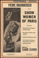Show Women of Paris / NIGHT WOMEN__Original 1964 Trade AD_poster__CLAUDE LELOUCH